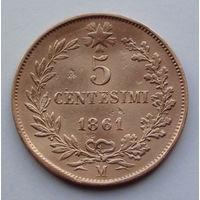 Италия 5 чентезимо. 1861. М