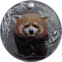 """RARE Острова Кука 5 долларов 2017г. Ночные животные: """"Красная панда"""". Монета в капсуле; подарочном футляре; номерной сертификат; коробка. СЕРЕБРО 31,135гр.(1 oz)."""