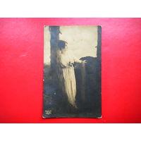 Старая открытка. С дамой.