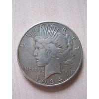 "1 доллар США 1934 год ""Peace""."