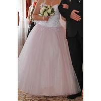 Свадебное платье нежно-розового оттенка+2 ПОДАРКА, р.42-48