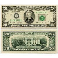 США. 20 долларов (образца 1990 года, B, Нью-Йорк, P487, XF)