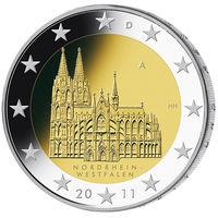 2 евро 2011 Германия J Федеральные земли Германии - Кёльнский собор UNC из ролла