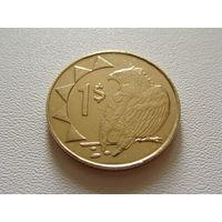 "Намибия. 1 доллар 1998 год ""Орел-скоморох, Птица"" КМ#4"