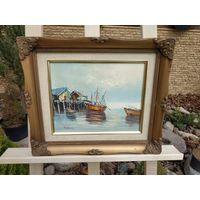 335 Красивая Старая Картина Море Корабли Масло Холст 25х20см - Рама Дерево 35х30