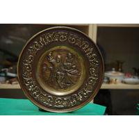Тарелка - панно медно- латунное  28 см