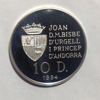 Андорра 10 динера, 1994г унция