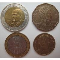 Чили 500-100-50-10 песо. Цена за 4 монеты (u)