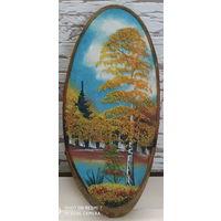 """Панно """"каменная распись) на срезе дерева."""