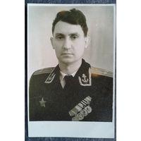 Фото подполковника с наградами (Новиков П.А.?) 1950-е 7.5 х11 см.