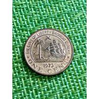 Либерия 1 цент 1973 г ( из этих -редкий год, тир 11 тыс. слон , корабль )
