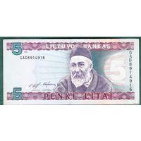 Литва.   5  литов  1993  года.   UNC