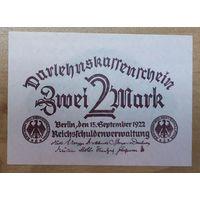 2 марки 1922 года - Германия - UNC