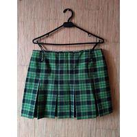 Мини юбка на молнии и в клеточку (черно-бело-зеленая)