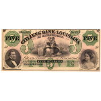 $5 The Citizens' Bank of LOUISIANA at Shreveport Note, 1800's, UNC. Не частые!