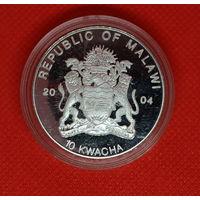 Малави 10 квача 2004 г. Серебро 29.22 гр. Эмаль