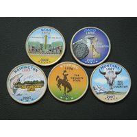 США набор 25 центов 2007 цветные UNC