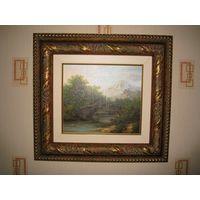 Картина маслом в богатой резной раме из цельного дерева.
