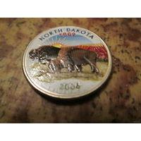 25 центов, цветной квотер США, штат Северная Дакота