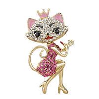 Женский брелок с кристаллами кошка