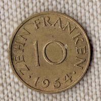 Германия Саар 10 франков 1954//(Oct)