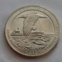 25 центов, квотер США, остров Блок, (штат Род-Айленд), P D