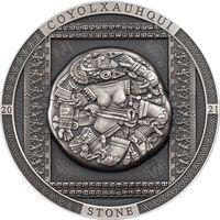 """RARE Острова Кука 20 долларов 2021г. """"Ацтекский камень Койолксауки"""". Монета в капсуле; шикарном подарочном футляре; номерной сертификат; коробка. СЕРЕБРО 93,30гр.(3 oz)."""
