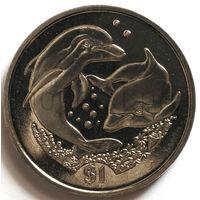 Британские Виргинские Острова 1 доллар 2006 года. Дельфины