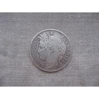 Франция: 5 франков серебро 1849 год  от 1 рубля без МЦ