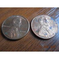 1 цент, США, 1990 и 2008 г.г.
