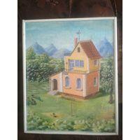 Картина на холсте. Домик в деревне. 400 Х 500 мм