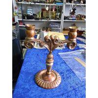 Подсвечник силуминовый на 2 свечи, 24 см.