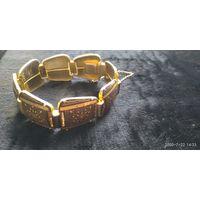 Редкий винтажный браслет в технике Дамаскин. Сер.20 в. Оригинал. Испания.19,5 см ,х2,5 см