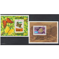 Гренада Гренадины Бабочки Норвегия 1975 год 2 гашеных блока
