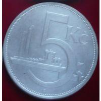 Чехословакия, 5 крон 1929 год. - Ag -