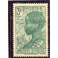 Кот д,Ивуар. Французская колония. Голова девушки, 3с