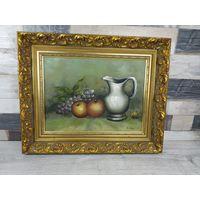 Картина натюрморт с виноградом. В изысканной рамке из дерева 54см х 44см, Масло холст подпись Автора С рубля
