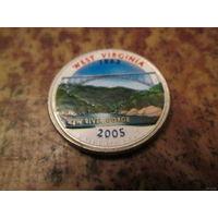 25 центов, цветной квотер США, штат Западная Вирджиния