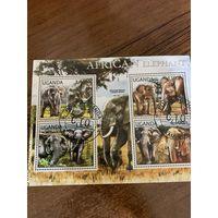 Уганда 2012. Слоны. Малый лист