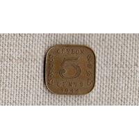 Шри Ланка Цейлон 5 центов 1944 //(GB)/