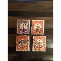 4 старенькие марочки Пакистана герб разные (4-9)