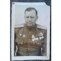 Фото подполковника с боевыми наградами. 6х9 см.