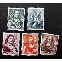 Нидерланды 1943 г. Морские Герои. Известные люди. 5 марок. Чистые #0030-Ч1