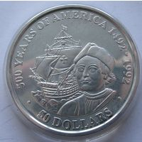 Острова Кука 50 долларов 1989 500 лет открытию Америки - Христофор Колумб - серебро 0,925