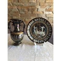 Ваза тарелка настенная Греция роспись золотом
