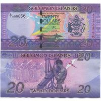 Соломоновы острова 20 долларов образца 2017 года UNC