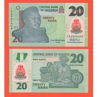 Банкнота Нигерия 20 найра 2018 UNC ПРЕСС полимерная