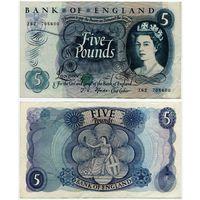 Великобритания. 5 фунтов (образца 1966-70 года, P375b, Fforde, XF)