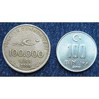 W: Турция 100000 лир 2000 + 100000 лир 2003 = РАЗНЫЕ (679)