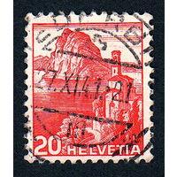 21: Швейцария, почтовая марка, 1936 год, номинал 20с, SG#375A